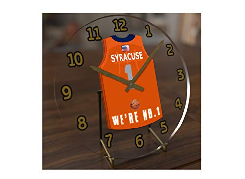 FanPlastic College Basketball USA - We're Number ONE College Hoops Jersey Themed Clocks - Support Your Team !!! (Syracuse Orangemen)