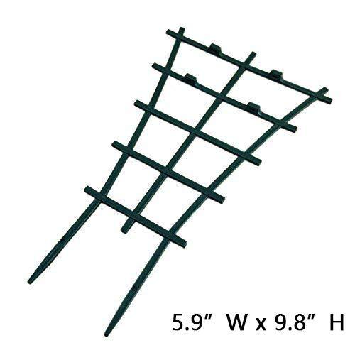 "Garden Trellis For Mini Climbing Plant Pot Support Morning Glory Trellis 5.9"" W x 9.8"" H 4 Pack Dark Green"