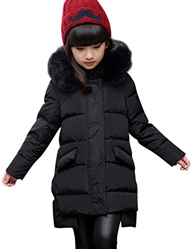 Menschwear Girl's Down Jacket Hooded Winter Warm Outwear (150,Black) by Menschwear