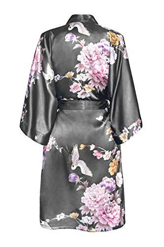 Women's Satin Kimono Robe Short - Floral