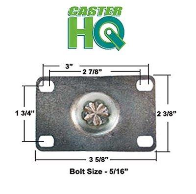 CasterHQ - 5'' X 1-1/4'' Gray Thermo Rubber Caster Set of 4 (Non Marking) Wheel - 1,200 lbs Capacity