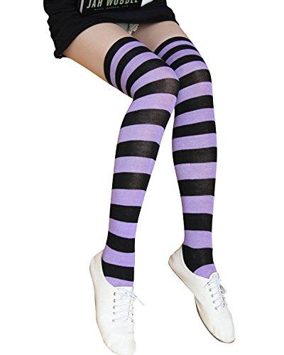 ZANZEA Women Stripe Casual Elegant Over The Knee Thigh High Long Stocking Socks (US Medium, Black Purple)