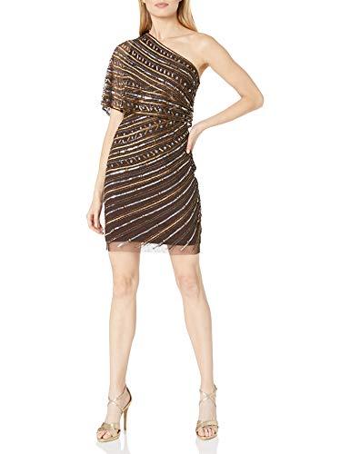 Adrianna Papell Women's Beaded Sheath Dress, Dark Chocolate, 8