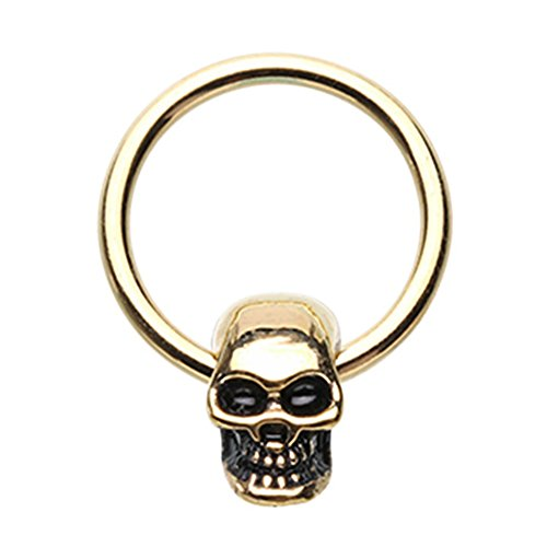 Inspiration Dezigns 16G 8mm Gold Captive Bead Ring Skull Head Body Piercing ()