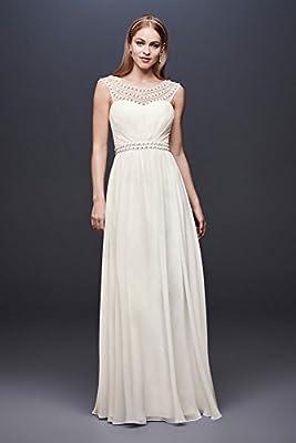 David's Bridal Beaded Sheath Wedding Dress with Illusion Mesh Style 184645DB