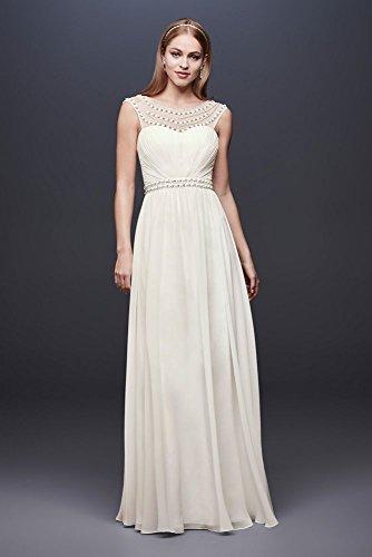 David's Bridal Beaded Sheath Wedding Dress with Illusion Mesh Style 184645DB, Soft White, 12 (Dress Sheath Wedding White)