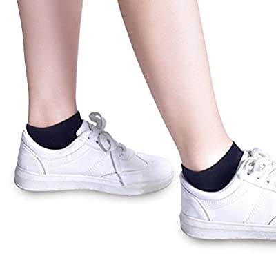 Women's Low Cut Socks, 6-Pair Ankle No Show Athletic Short Cotton Socks by Sioncy (Black) at Women's Clothing store