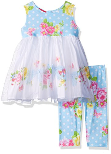 Kate Mack Baby Girls Garden Roses Tunic and Legging Set, Blue, ()