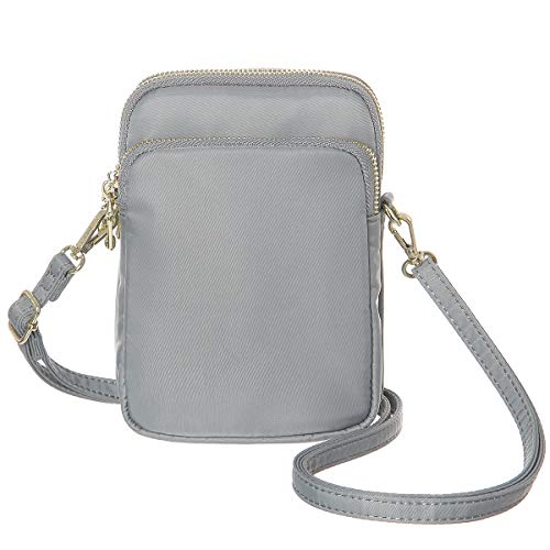 - MINICAT Nylon Small Crossbody Bags Cell Phone Purse Smartphone Wallet For Women (Light Grey-Card Slots)