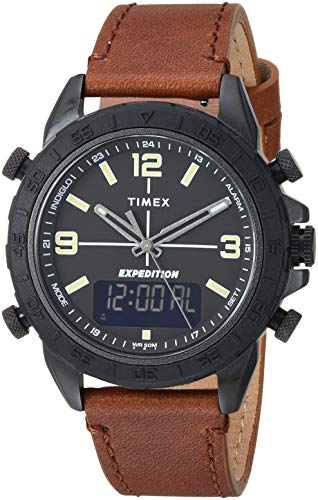 Timex Men's TW4B17400 Expedition Pioneer Combo 41mm Brown/Black Leather Strap Watch (Digital Strap Brown Watch)
