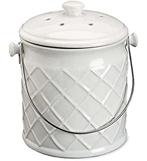 1gallon lattice ceramic compost crock in white