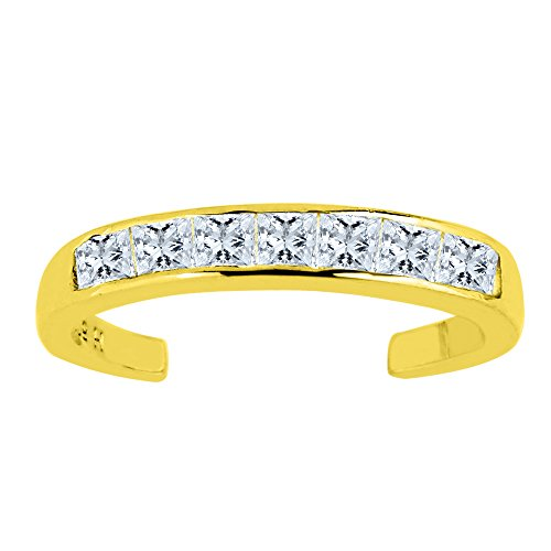 14K Yellow Gold CZ Stones Channel Set Cuff Style Adjustable Toe Ring 3mm by Jewelry Affairs (Image #5)