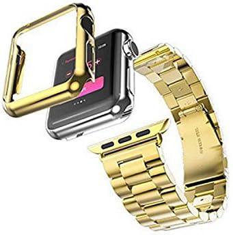 2020 ステンレス鋼s +ケースアップル時計バンド42ミリメートル38ミリメートルリンクブレスレット金属ベルト時計バンド+ For Iwatchバンド調整修理ツール-gold-2st 38mm