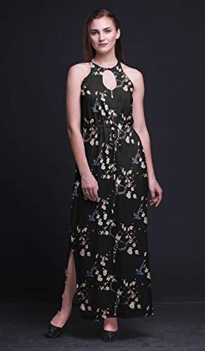 Bimba Block Women Printed Crew Neck Side Slits Halter Dress Long Evening Gown