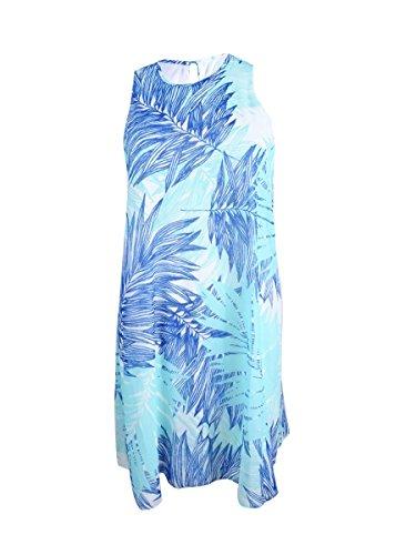 Floral Petite Klein Calvin Dress Women's Print Trapeze Blue vqtEndwREx