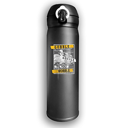 Gobble 'Til You Wobble Thanksgiving Vintage Stainless Steel Drinking Bottle (Betsy Ross As A Child)