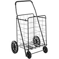 Whitmor Deluxe Rolling Utility / Shopping Cart, Black