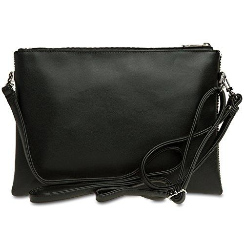 CASPAR TA348 avec pour XL clutch paillettes Noir femme Élégant à dragonne rHdqxrW