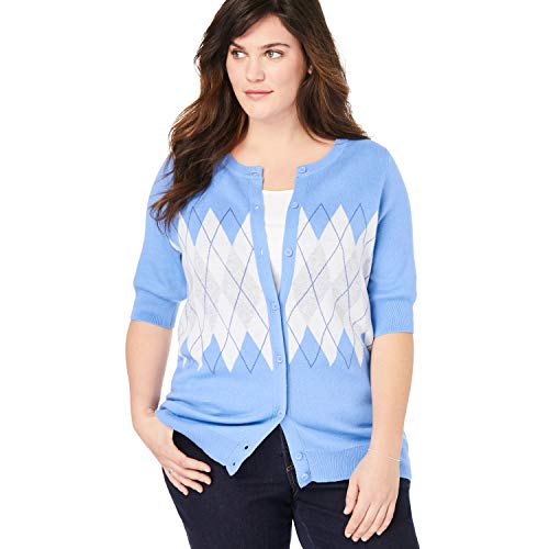 - Woman Within Women's Plus Size Perfect Elbow-Length Sleeve Cardigan - French Blue Argyle, L
