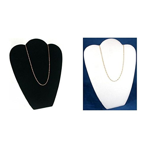 Black & White Velvet Necklace Chain Jewelry Display Easel Bust Kit 2 Pcs