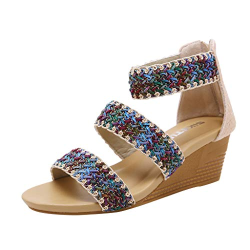 Sunyastor Wedge Sandals for Women Summer Casual Roma Zip Sandal Braided Strap Tong Comfort High Heels Wedges Work Shoe Beige