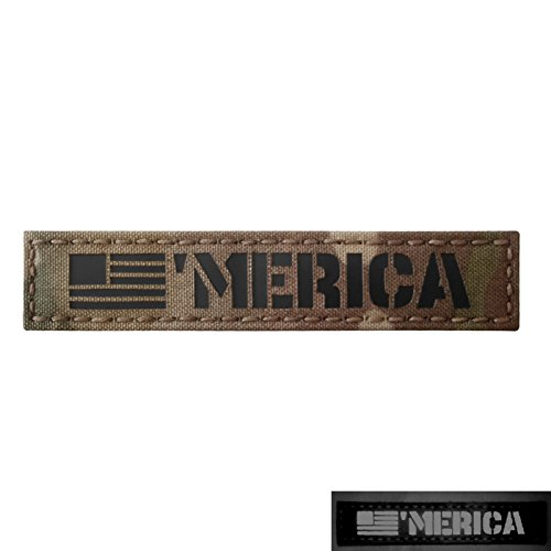 Merica 1x5 Multicam Infrared IR America USA Flag Name Branch Tape Tab IFF Morale Fastener ()