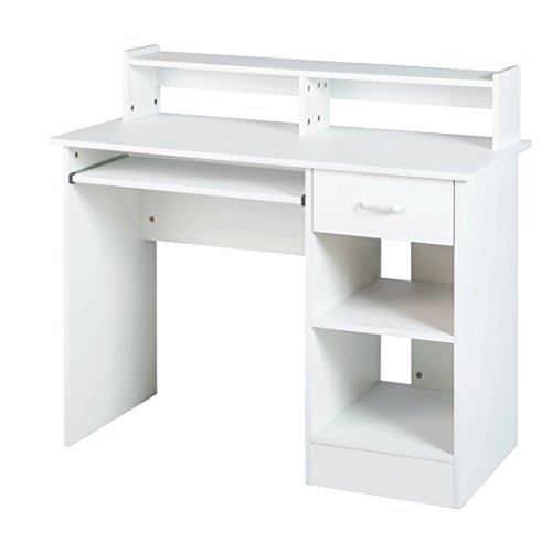 White computer Desk Small Office Desk Work Table Furniture with Wide Keyboard Tray and Drawer for Home Office College OFF198 by GOOD LIFE USA
