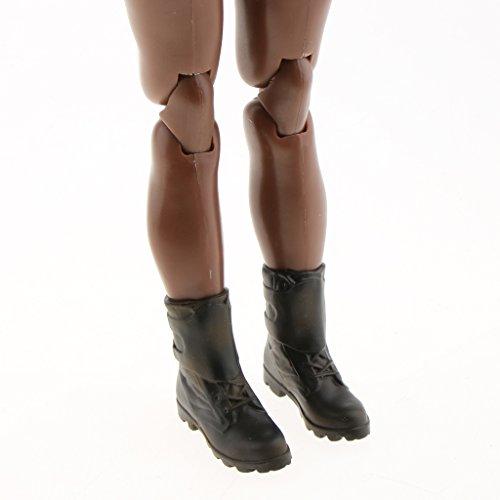 MagiDeal 1/6 Damen Stiefel Stiefeletten Winterschuhe für 12 Aktion Figure Körper - Schwarz - A A