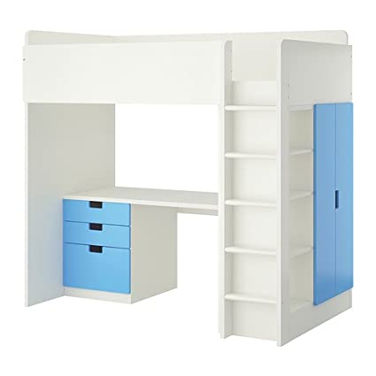 Amazon Com Ikea Twin Size Loft Bed With 3 Drawers 2 Doors White