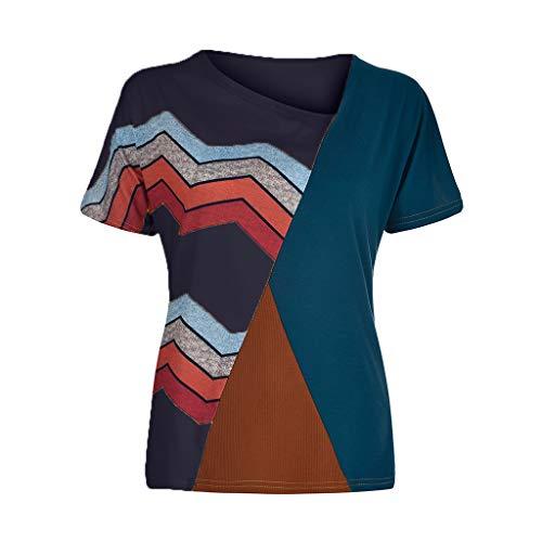 Women's Casual T-Shirts Summer Short Sleeve Color Block Stripe Print Tops Plus Size Cotton Patchwork Blouse Top Shirts (Navy, XXXXXL) by Cealu (Image #1)