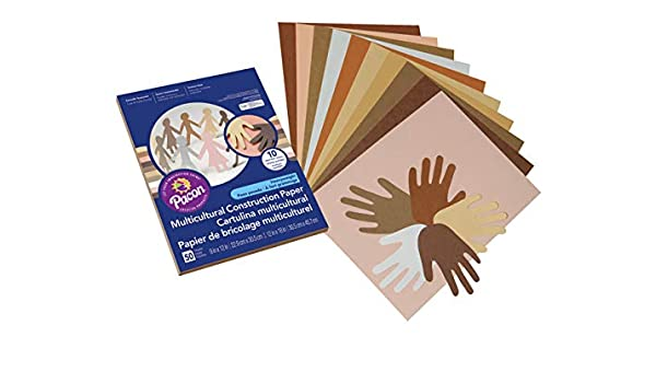 12 x 18 Inches Assorted Colors Pacon Multi-Cultural Construction Paper 50