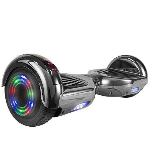 "Price comparison product image Levit8ion ION 6.5"" Hoverboard -Self Balancing Scooter 2 Wheel Electric Scooter - UL Certified 2272 Bluetooth W/Speaker, LED Wheels And LED Lights (Chrome Black)"