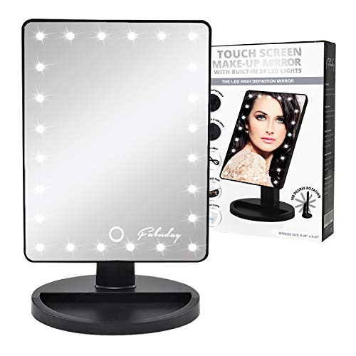 Fabuday LED Lighted Makeup Mirror 24 Led Vanity Cosmetic Mirror, Touch Screen Light Adjustable Dimmable Dual Power Supply, 180° Rotation, Color Boxed, Black