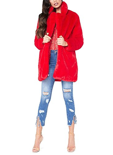 de Calentar de Chaqueta Larga Manga Kemosen Outwear Rojo Invierno para con Piel Pelo Sintética Abrigo Mujer de fxU5xwq70