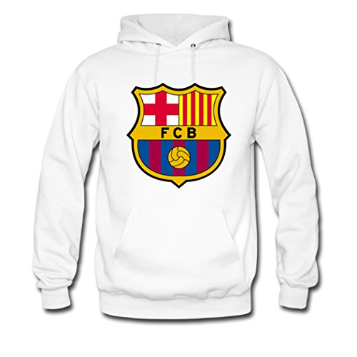 Angelbaby Women Hoodies FC Barcelona Team Logo Pullover Large White