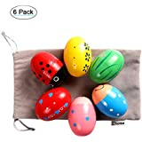 Ehome Wooden Percussion Musical Egg Easter Maracas Egg Shakers Kids Toys with Assorted Colors.