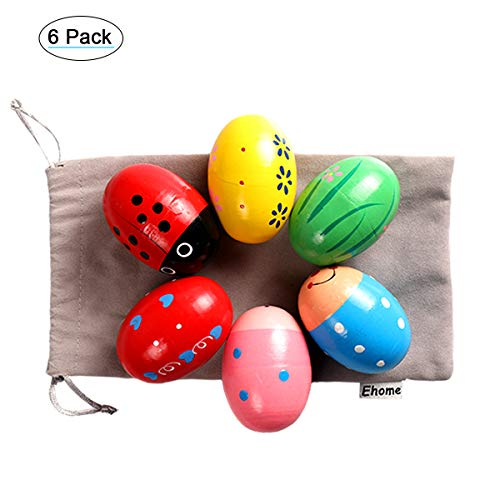 Ehome Wooden Percussion Musical Egg Easter Maracas Egg Shakers Kids Toys with...