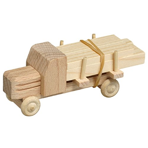 Lorry with timber unpainted 7.5cm Wood wooden car Ore Mountains NEW (Wood Ore Car)