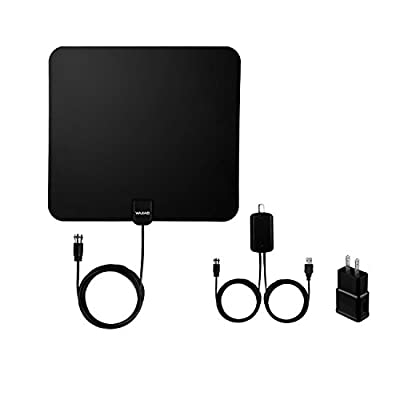 WAAO TV Antenna Indoor HD Digital TV Antenna with 50 Miles Long Range Amplifier HDTV Signal Booster Upgraded Version-10ft Coax Cable USB Power