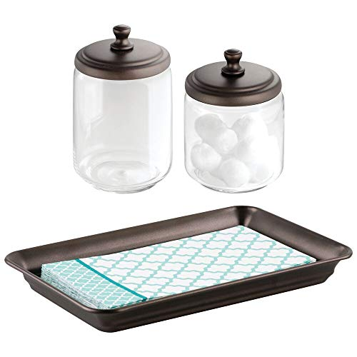 mDesign Metal Vanity Tray for Towels or Cosmetics, Tall and Short Glass Apothecary Jars - Set of 3, Clear/Bronze