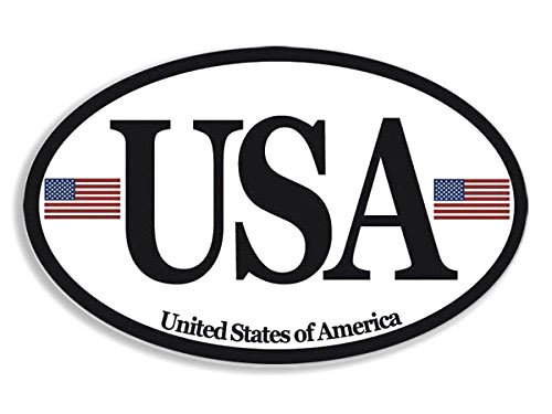 (Euro Style Oval USA w Flags Sticker (America car Patriotic) )