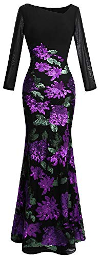 Angel-fashions Women's Long Sleeve Rose Pattern Sequin Black Formal Dress (M, Purple Black) -