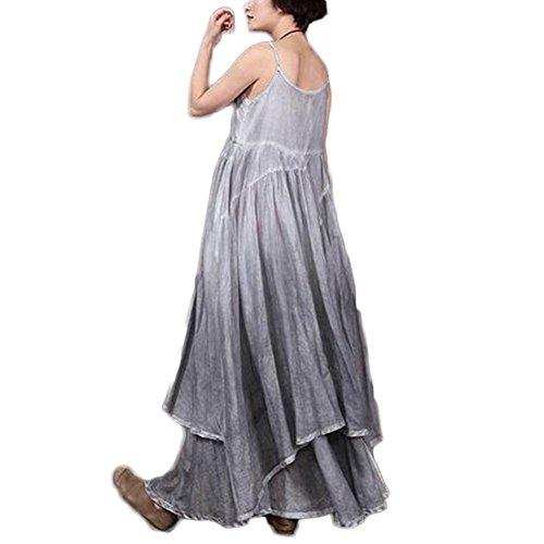 Fxwj Vestidos Mujer irregular de algodón de lino chaleco sin mangas correa de falda larga , grey Grey