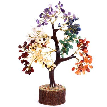 Reiki Healing Seven Chakra Feng Shui Tree Money Luck Wealth Home Decor Size: 10-12 Inch Approx (Golden Wire)
