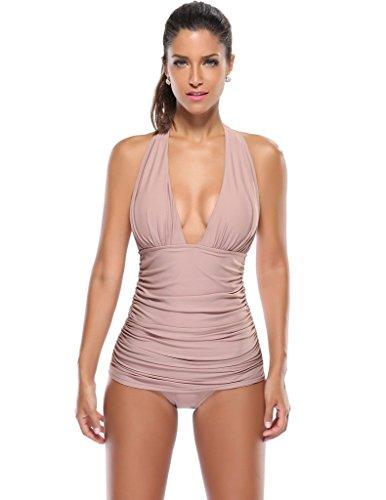 Kathlena Elegant Ruched V Neck Backless One Piece Swimsuit Swimdress(FBA) (V-neck Swimdress Swimsuit)