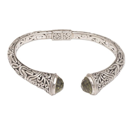NOVICA .925 Sterling Silver Cuff Bracelet with Prasiolite End Caps, Our Two Souls' ()