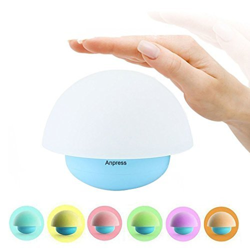 - Anpress Tumbler Mushroom Design Colorful Night Light Touch Sensor Dimmable LED Nightlights with Softlight,Stronglight and 7 Colorful Light Best Gift for Baby Room, Bedroom, Nursery, Outdoor