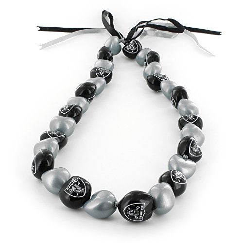 aminco NFL Oakland Raiders Kukui Nut Necklace, Gray/Black