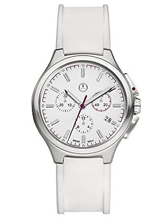 Mercedes-Benz - Damen Armbanduhr Chronograph Damen - Mercedes-Benz - Sport Fashion weiß - plum - silberfarben - Edelstahl -