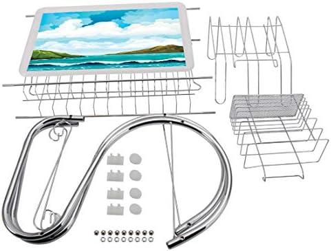 ステンレス製食器棚3段、キッチン用食器棚ドレーナーラックホルダードレンラック食器乾燥ラック海、波の島と曇りの青い空の静かなエキゾチックな海岸漫画スタイル、多色の海ステンレス製食器棚キッチンドライドリップトレイカトラリーラック収納スペースセーバー